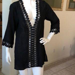 La Blanca Black Poolside Tunic /Cover Up Size S